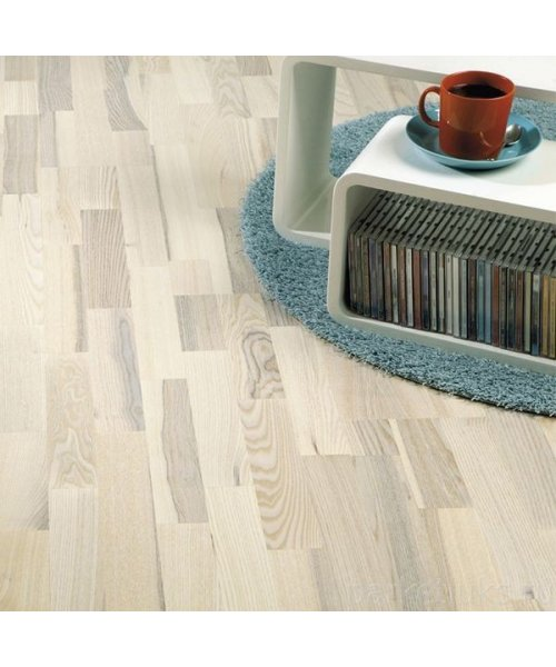 ПАРКЕТНАЯ ДОСКА POLARWOOD ЯСЕНЬ LIVING WHITE MATT 3-Х ПОЛ. (3,41М2)
